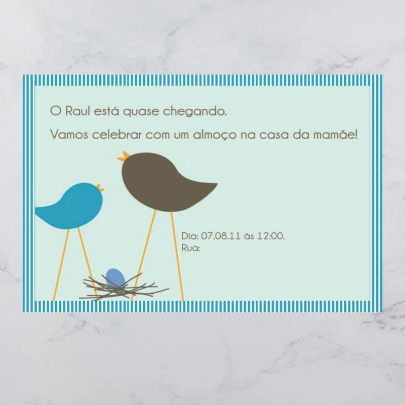 Convite Chá Bebê/ Fraldas - Modelo Raul