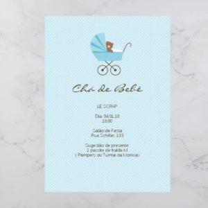 Convite Chá Bebê/ Fraldas - Modelo Ursinho no carrinho