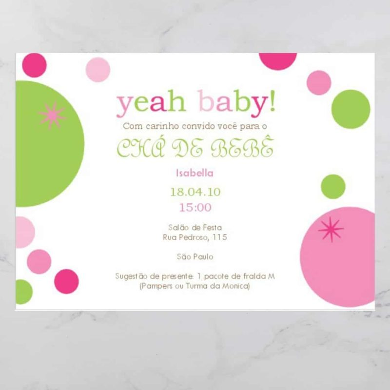 Convite Chá Bebê/ Fraldas - Modelo Isabella