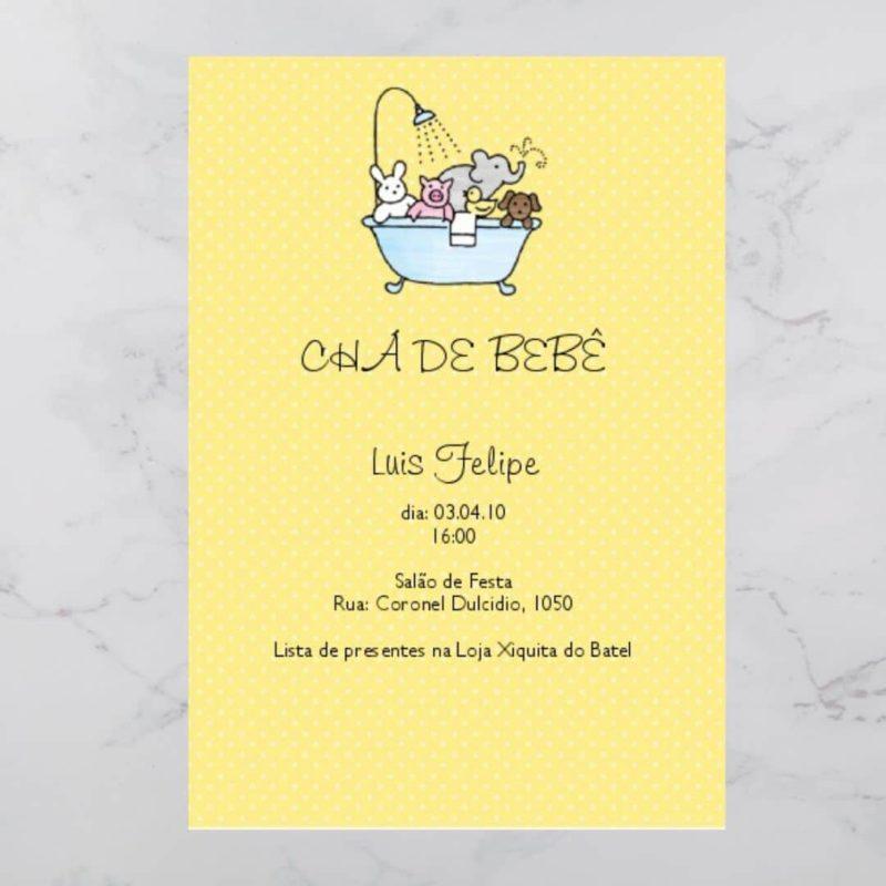 Convite Chá Bebê/ Fraldas - Modelo Luis Felipe
