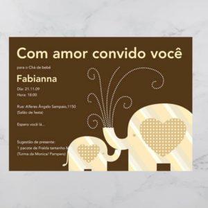 Convite Chá Bebê/ Fraldas - Modelo Fabianna