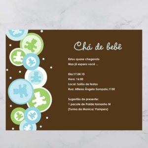 Convite Chá Bebê/ Fraldas - Modelo Urso
