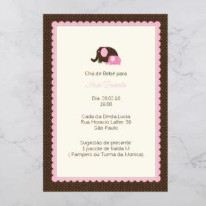 Convite Chá Bebê/ Fraldas - Modelo Maria Fernanda