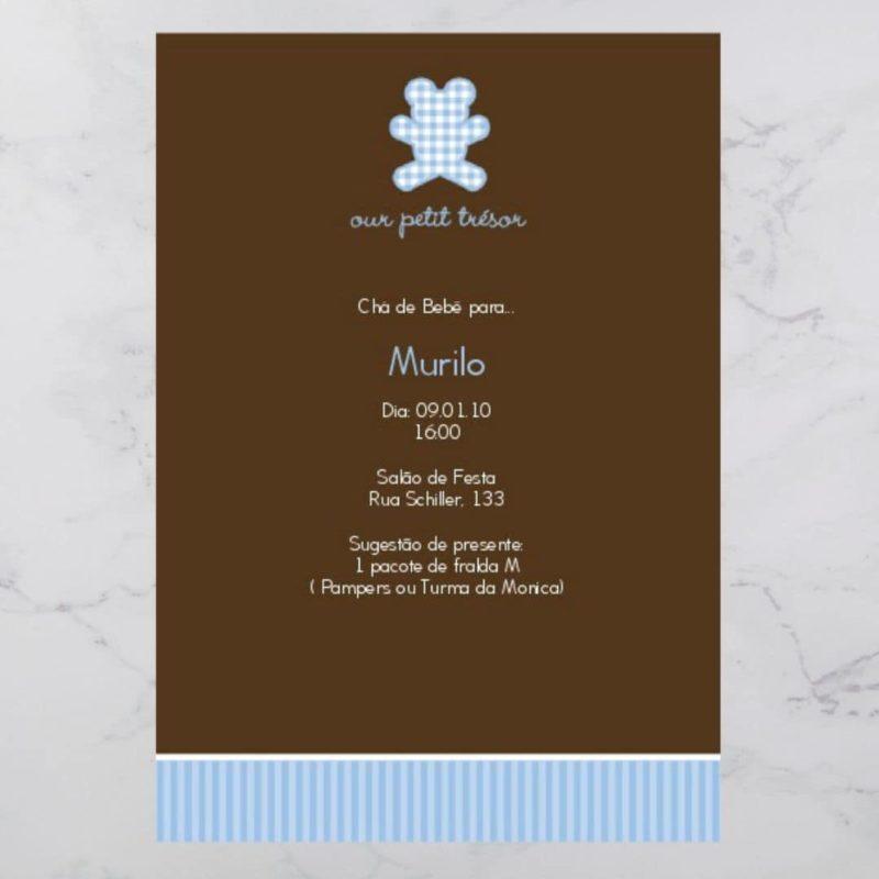 Convite Chá Bebê/ Fraldas - Modelo Murilo