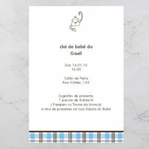 Convite cha de bebe/ fraldas modelo convite gael