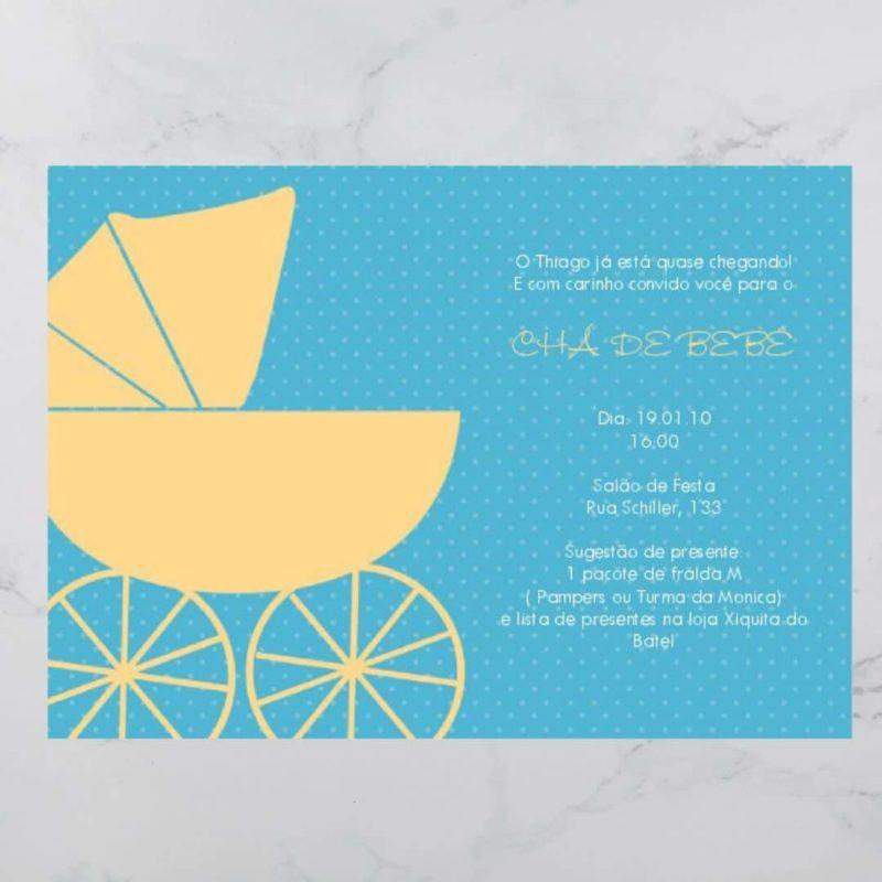 convite cha de bebe azul e amarelo