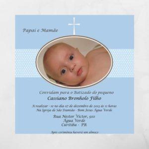 Convite de batizado Azul