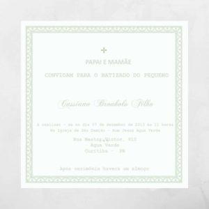 Convite de batizado cinza