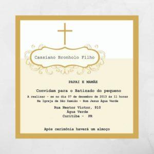 Convite de batizado dourado