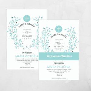Convite de batizado - ramo de folhas