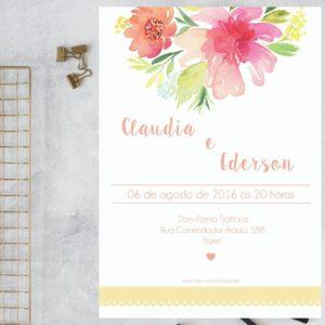 Floral Aquarelado - Convite de Casamento