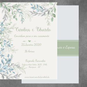 Beautiful Leaves Aquarelado - Convite De Casamento