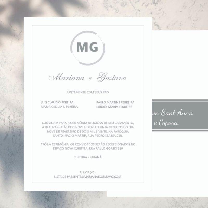 Monograma - Convite de casamento