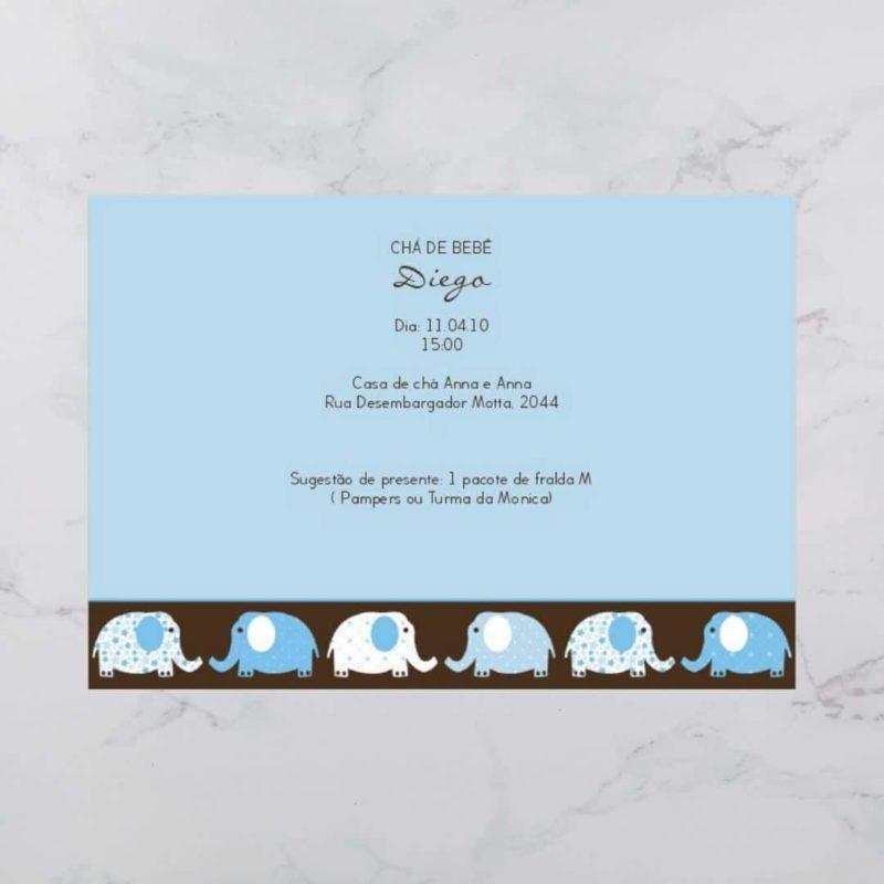 Convite Chá Bebê/ Fraldas - Modelo Diego