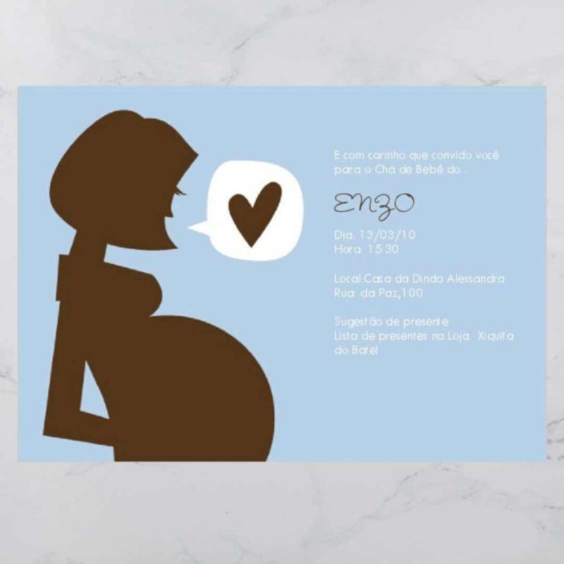 Convite Chá Bebê/ Fraldas - Modelo Enzo