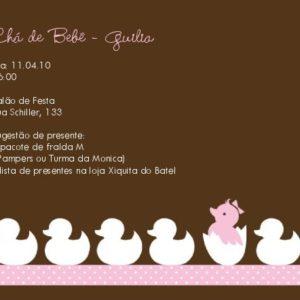 Convite Chá Bebê/ Fraldas - Modelo Guilia