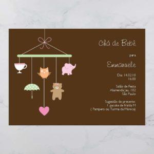 Convite Chá Bebê/ Fraldas - modelo Emmanuele