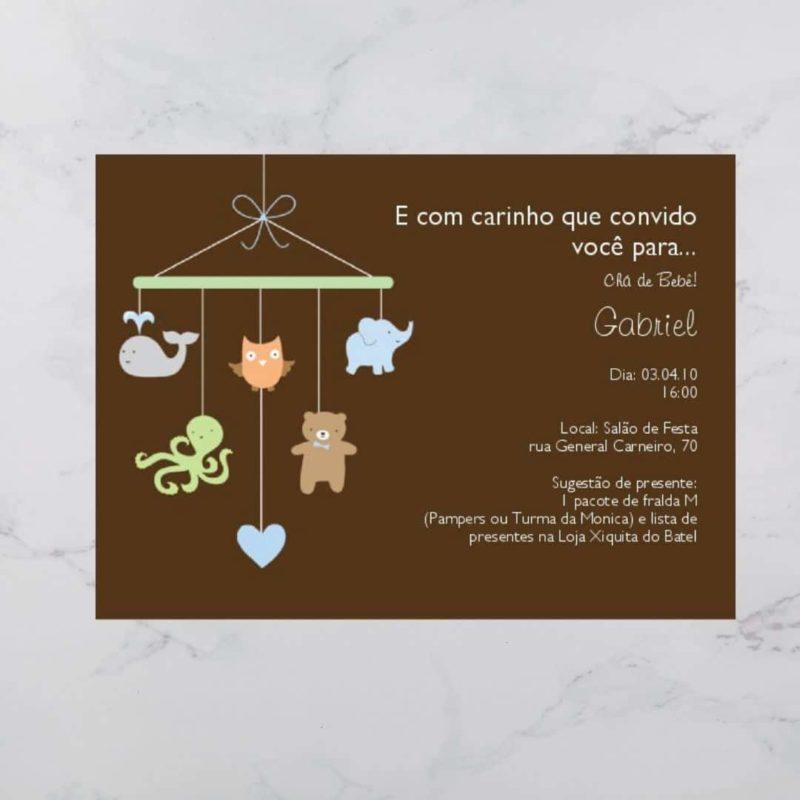 Convite Chá Bebê/ Fraldas - modelo Gabriel