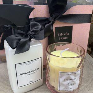 kit cadeau com 1 agua de Lencol Fleur de cerise e 1 vela perfumada e embalagem