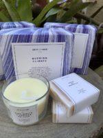 Kit Mimo V com vela e 2 sabonetes personalizados com embalagem