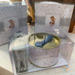 Kit mimo VI com lata e home spray em embalagem de acetato presonalizado para o nascimento do Raul