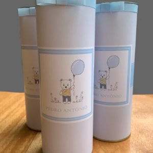 Embalagem para baby espumante (3 latas com laço e rótulo personalizado)