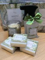 kit boas vindas em Marau com sabonetes, vela e agua de lençol