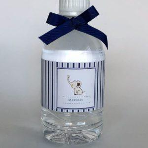 Água Mineral Ouro Fino 310Ml personalizada com rótulo e fita azul