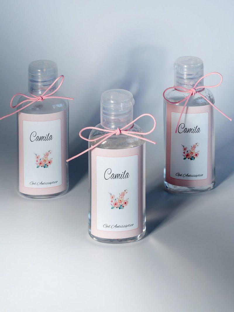 Mini frasco de gel álcool antisséptico personalizado com rótulo e fita